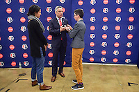 New York, NY - Thursday February 02, 2017: Jeff Plush, media during a joint NWSL and A+E Networks press conference at the A+E headquarters.
