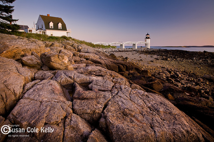 Marshal Point Light at sunset, Port Clyde, Mid-coast ME, USA