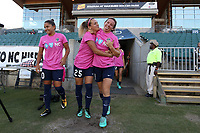 Cary, North Carolina  - Saturday September 09, 2017: Meredith Speck and Elizabeth Eddy prior to a regular season National Women's Soccer League (NWSL) match between the North Carolina Courage and the Houston Dash at Sahlen's Stadium at WakeMed Soccer Park. The Courage won the game 1-0.