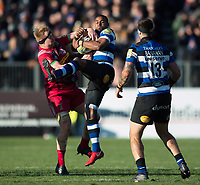 Aled Brew of Bath Rugby claims the ball in the air. Aviva Premiership match, between Bath Rugby and Harlequins on November 25, 2017 at the Recreation Ground in Bath, England. Photo by: Patrick Khachfe / Onside Images