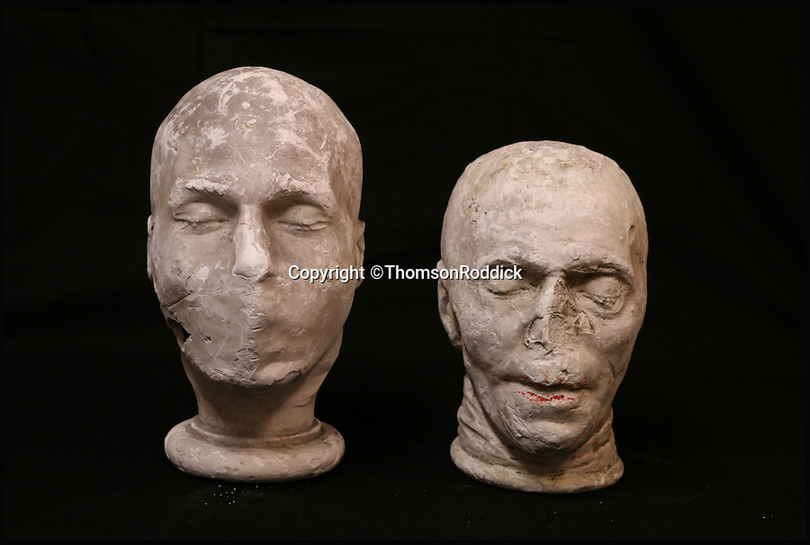 BNPS.co.uk (01202 558833)<br /> Pic: ThomsonRoddick/BNPS<br /> <br /> 19th century plaster death mask head of a man sold for £650.<br /> <br /> These disturbing Victorian plaster cast heads of notorious criminals are a far cry from today's bland mugshots of lowlifes.<br /> <br /> Two of the heads have been identified as Benjamin Courvoisier, a serial killer in the mould of Jack the Ripper, and coachman Daniel Good who mutilated his pregnant mistress. <br /> <br /> In total, nine heads were discovered at an outbuilding at a rural home just outside Penrith, Cumbria, which have now fetched almost £40,000 at auction. <br /> <br /> Experts predicted the collection of heads would sell for £2,000  but Courvoisier's head alone went for £20,000.<br /> <br /> Two of the heads were made by the famous British exponent of phrenology, James De Ville, who built a private museum of more than 5,000 specimens.