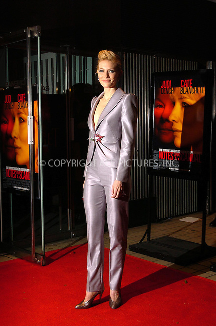 WWW.ACEPIXS.COM . . . . .  ....December 18, 2006, New York City. ....Cate Blanchett attends the 'Notes On A Scandal' Movie Premiere Held at Cinema 1. ....Please byline: AJ Sokalner - ACEPIXS.COM..... *** ***..Ace Pictures, Inc:  ..(212) 243-8787 or (646) 769 0430..e-mail: info@acepixs.com..web: http://www.acepixs.com