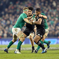 19th November 2016 | IRELAND vs NEW ZEALAND<br /> <br /> Waisake Naholo is tackled by Jamie Heaslip and Sean O&rsquo;Brien during the Autumn Series International clash between Ireland and New Zealand at the Aviva Stadium, Lansdowne Road, Dublin,  Ireland. Photo by John Dickson/DICKSONDIGITAL