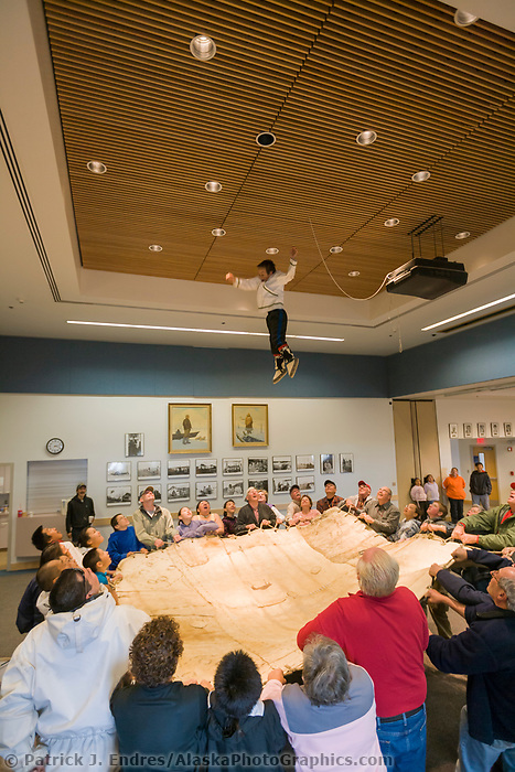 Native Inupiaq, (eskimo) in Barrow Alaska, demonstrate the blanket toss for visiting summer tourists.