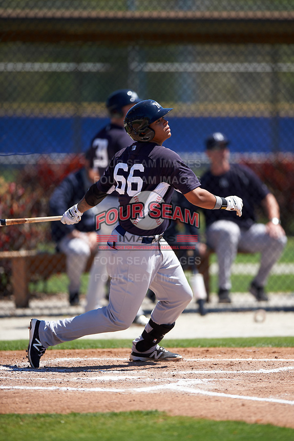 New York Yankees Nelson Gomez (66) during a minor league Spring Training game against the Toronto Blue Jays on March 22, 2016 at Englebert Complex in Dunedin, Florida.  (Mike Janes/Four Seam Images)