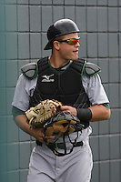 Catcher Devin Mesoraco #36 of the Lynchburg Hillcats in the bullpen before a game against the Myrtle Beach Pelicans at BB&T Coastal Field on May 26, 2010 in Myrtle Beach. Photo by Robert Gurganus/Four Seam Images.