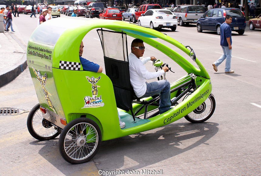 Environmentally friendly hybrid pedicab in downtown Mexico City