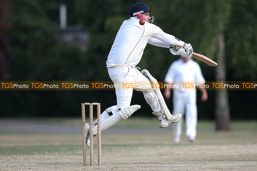 Ben Jones of Hornchurch CC plays and misses-Hornchurch CC  2nd  XI V Goresbrook 2nd XI- 24/07/10 - MANDATORY CREDIT: George Phillipou/TGSPHOTO - Self billing applies where appropriate - 0845 094 6026 - contact@tgsphoto.co.uk - NO UNPAID USE..