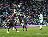 Victor Wanyama heads the opening goal in the Celtic v St Mirren Clydesdale Bank Scottish Premier League match played at Celtic Park, Glasgow on 15.12.12..