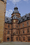 Courtyard of Schloss Johannisburg castle. Built with local redstone between 1605 and 1614, Aschaffenburg.Bavaria, Germany.