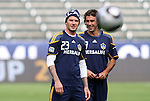 19 November 2011: David Beckham (ENG) (23) and Jovan Kirovski (behind). The Los Angeles Galaxy held a practice session at the Home Depot Center in Carson, CA one day before playing in MLS Cup 2011.