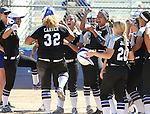 Western Nevada&rsquo;s Briauna Carter celebrates with teammates after hitting a 3-run homer against College of Southern Nevada at Edmonds Sports Complex in Carson City, Nev., on Friday, April 1, 2016. <br />Photo by Cathleen Allison/Nevada Photo Source