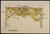 Hand drawn map of Dolores on Dorman's model railroad.<br /> RGS  Dolores, CO