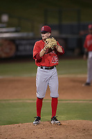 AZL Angels relief pitcher Christian Aragon (43) prepares to deliver a pitch during an Arizona League game against the AZL Padres 2 at Tempe Diablo Stadium on July 18, 2018 in Tempe, Arizona. The AZL Padres 2 defeated the AZL Angels 8-1. (Zachary Lucy/Four Seam Images)