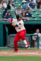 Fresno Grizzlies catcher Taylor Gushue (19) hitting during a game against the Reno Aces at Chukchansi Park on April 8, 2019 in Fresno, California. Fresno defeated Reno 7-6. (Zachary Lucy/Four Seam Images)