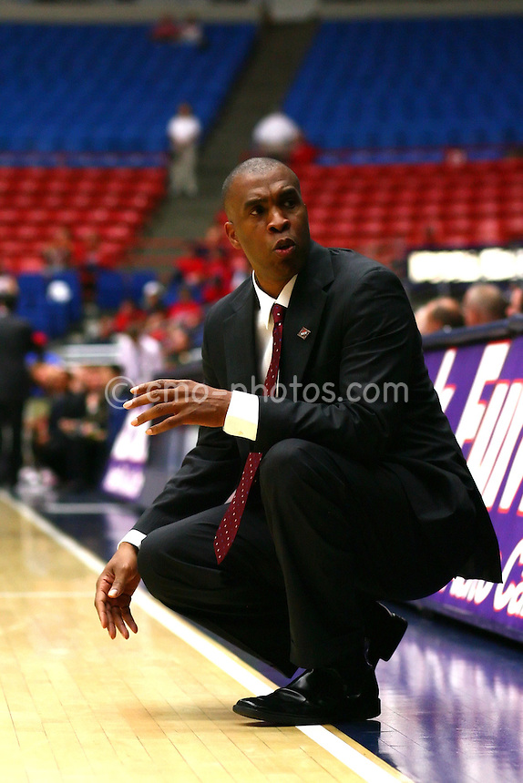 Nov 17, 2008; Tucson, AZ, USA; UAB head coach Mike Davis looks back at his bench during the second half of a NIT Season Tip-Off game at the McKale Center.  UAB defeated Santa Clara 64-61.