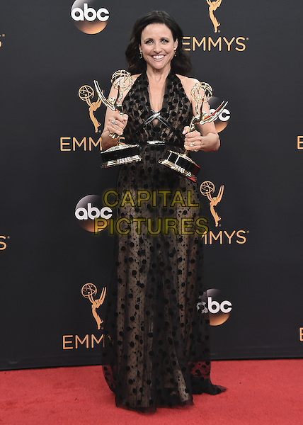 LOS ANGELES, CA - SEPTEMBER 18:  Julia Louis-Dreyfus in the press room at the 68th Emmy Awards at the Microsoft Theater on Sunday, September 18, 2016, in Los Angeles, California. <br /> CAP/MPI99<br /> &copy;MPI99/Capital Pictures