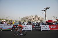 "Sammy Sanchez after crossing the finish line, EUS - #133 -1'57"" -- 2011 Tour of Beijing Stage 1 ITT"