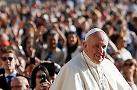Pope Francis arrives to attend his weekly general audience in St. Peter's Square at the Vatican City, October 16, 2019. UPDATE IMAGES PRESS/Riccardo De Luca<br /> <br /> STRICTLY ONLY FOR EDITORIAL USE