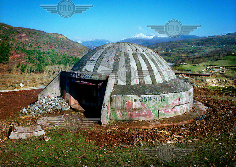 Bunker in Elbasan valley where around 700,000 bunkers were built during the Hoxha period to defend Albania from its capitalist enemies.