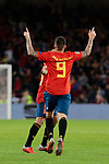 Spain's Paco Alcacer (R) celebrates goal during UEFA Nations League 2019 match between Spain and England at Benito Villamarin stadium in Sevilla, Spain. October 15, 2018. (ALTERPHOTOS/A. Perez Meca)