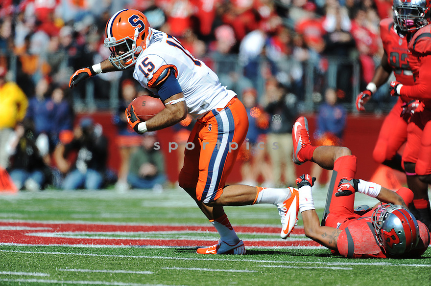 University of Syracuse Orangemen receiver  Alec Lemon (15) during game against Rutgers University Scarlet Knights played at High Point Solutions Stadium on Saturday, October 13, 2012 in Piscataway, NJ. Rutgers defeated Syracuse 23-15.