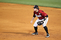 Nashville Sounds first baseman Mat Gamel #6 in the field during a game against the Omaha Storm Chasers at Greer Stadium on April 25, 2011 in Nashville, Tennessee.  Omaha defeated Nashville 2-1.  Photo By Mike Janes/Four Seam Images