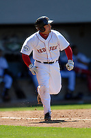 Catcher Mike McKenry #5 of the Pawtucket Red Sox during a game versus the Toledo Mud Hens on May 1, 2011 at McCoy Stadium in Pawtucket, Rhode Island. Photo by Ken Babbitt /Four Seam Images