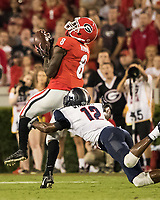 Athens, GA - September 16, 2017: The thirteenth ranked University of Georgia Bulldogs host the Samford Bulldogs at Sanford Stadium.