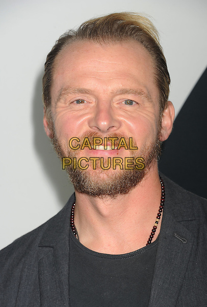 Simon Pegg<br /> &quot;Star Trek Into Darkness&quot; DVD/Blu-Ray Release held at the California Science Center, Los Angeles, California, USA.<br /> September 10th, 2013<br /> headshot portrait beard facial hair grey gray suit jacket <br /> CAP/ROT/TM<br /> &copy;Tony Michaels/Roth Stock/Capital Pictures