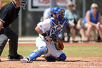 South Dakota State JackRabbits catcher Sam Pack (8) blocks a pitch in the dirt during a game against the Maine Black Bears at South County Regional Park on March 9, 2014 in Port Charlotte, Florida.  Maine defeated South Dakota 5-4.  (Mike Janes/Four Seam Images)