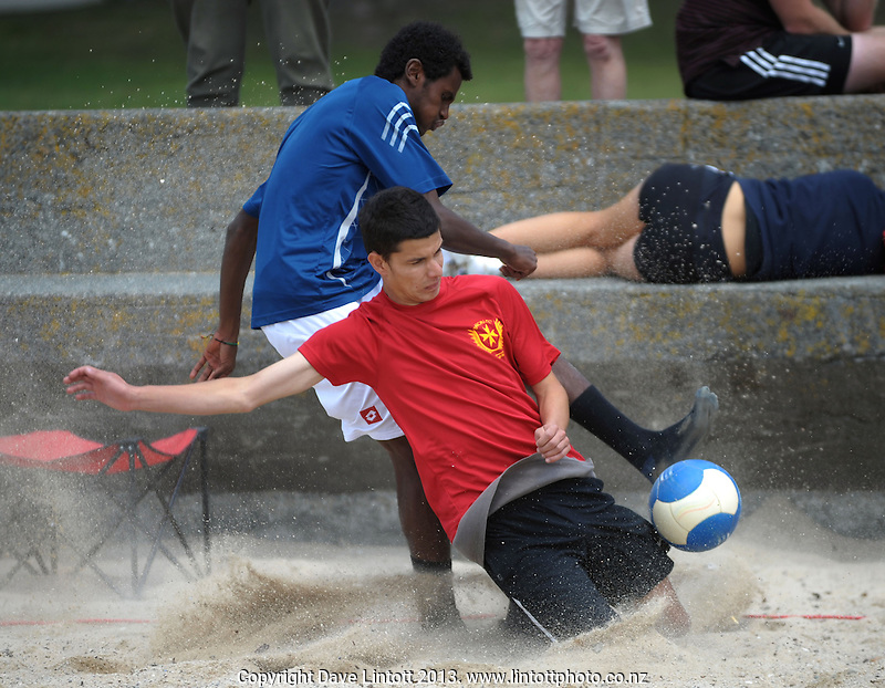 Action from the Beach Soccer Championships at Oriental Parade, Wellington, New Zealand on Saturday, 90 January 2013. Photo: Dave Lintott / lintottphoto.co.nz