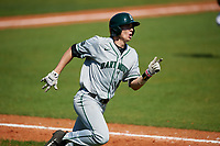 Dartmouth Big Green center fielder Trevor Johnson (36) runs to first base during a game against the Bradley Braves on March 21, 2019 at Chain of Lakes Stadium in Winter Haven, Florida.  Bradley defeated Dartmouth 6-3.  (Mike Janes/Four Seam Images)
