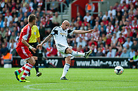 Sun 06 October 2013 Pictured: Jonjo Shelvey takes a shot at goal  Re: Barclays Premier League Southampton FC  v Swansea City FC  at St.Mary's Stadium, Southampton