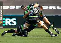 Leinster's Mike Ross is tackled by Ospreys' Tyler Ardron<br /> <br /> Photographer Simon King/CameraSport<br /> <br /> Guinness PRO12 Round 19 - Ospreys v Leinster Rugby - Saturday 8th April 2017 - Liberty Stadium - Swansea<br /> <br /> World Copyright &copy; 2017 CameraSport. All rights reserved. 43 Linden Ave. Countesthorpe. Leicester. England. LE8 5PG - Tel: +44 (0) 116 277 4147 - admin@camerasport.com - www.camerasport.com