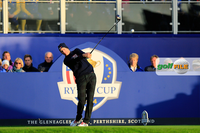Jim Furyk (USA) during the Saturday morning Fourballs of the 2014 Ryder Cup at Gleneagles. The 40th Ryder Cup is being played over the PGA Centenary Course at The Gleneagles Hotel, Perthshire from 26th to 28th September 2014.: Picture Eoin Clarke, www.golffile.ie / www.golftouri,ages.com: \27/09/2014\