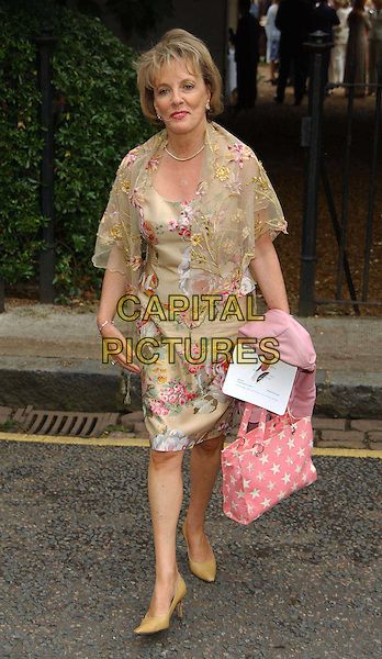 ESTHER RANTZEN.David Frost's summer party.sales@capitalpictures.com.www.capitalpictures.com.©Capital Pictures.full length, full-length, flower, floral print dress, pink star print bag, shawl.