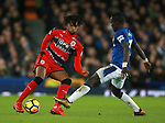 Kasey Palmer of Huddersfield Town tackled by Idrissa Gueye of Everton during the premier league match at the Goodison Park Stadium, Liverpool. Picture date 2nd December 2017. Picture credit should read: Simon Bellis/Sportimage