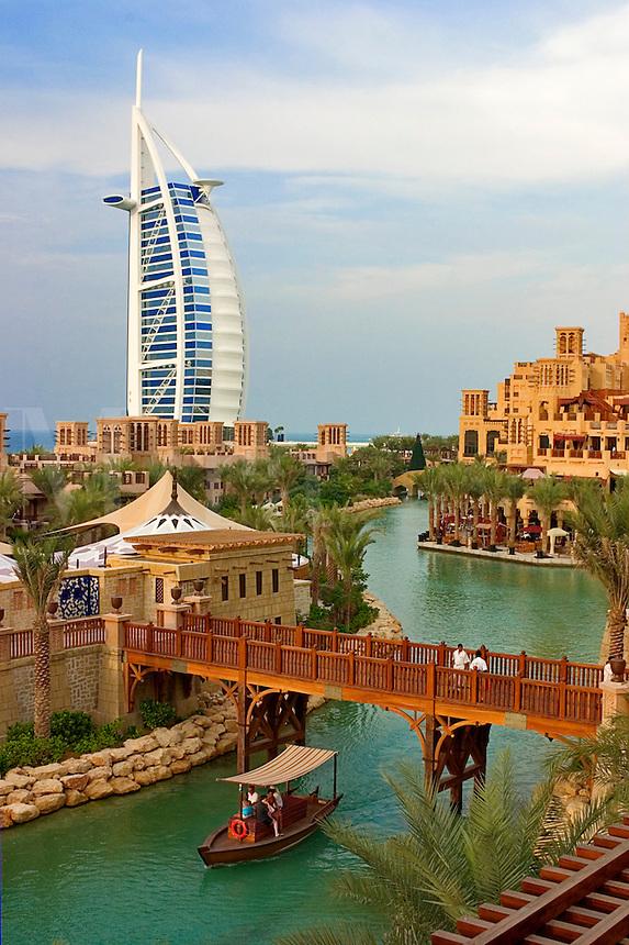 Dubai, United Arab Emirates. Burj al Arab Hotel and Mina A'Salam Hotel. Madinat Jumeirah. Souk.  .