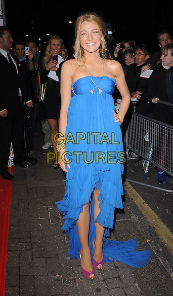 BLAKE LIVELY.The ELLE Style Awards 2011 at Grand Connaught Rooms, London, England..February 14th, 2011.full length halterneck gold blue dress hand on hip train maxi cut out peep toe pink purple shoes bracelets .CAP/BEL.©Tom Belcher/Capital Pictures.