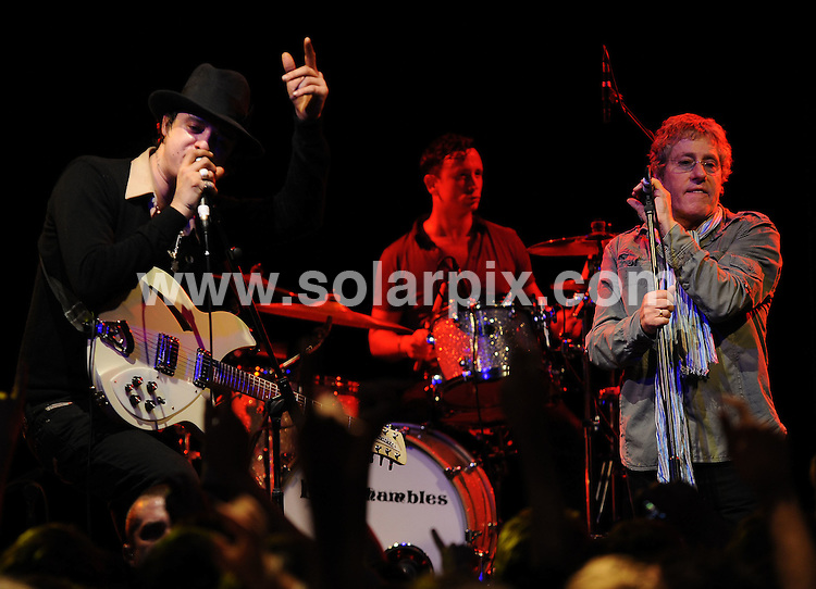 **ALL ROUND PICTURES FROM SOLARPIX.COM**.**WORLDWIDE SYNDICATION RIGHTS**.Babyshambles frontman Pete Doherty and The Who legend Roger Daltrey thrilled rock fans after joining forces at a one-off charity gig last night. The singers.took to the stage at the Bristol O2 Academy as part of a tribute to a teenage cancer sufferer, raising awareness for Daltrey's Teenage Cancer Trust foundation. Daltrey reportedly approached the troubled musician after he was impressed by Doherty's decision to sing at the cancer sufferer's funeral in July 2008.  O2 Academy, Bristol, UK. 12th January 2009..This pic: Pete Doherty and Roger Daltrey..JOB REF: 8226 SSD-ATM      DATE:  12_01_2009.**MUST CREDIT SOLARPIX.COM OR DOUBLE FEE WILL BE CHARGED* *UNDER NO CIRCUMSTANCES IS THIS IMAGE TO BE REPRODUCED FOR ANY ONLINE EDITION WITHOUT PRIOR PERMISSION*