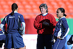 "16 October 2004: U.S. coach April Heinrichs (center) with Shannon Boxx (left) and Angela Hucles (right) before the game. The United States defeated Mexico 1-0 at Arrowhead Stadium in Kansas City, MO in an women's international friendly soccer game as part of the U.S.'s ""Fan Celebration Tour.""."