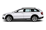 Car driver side profile view of a 2017 Skoda Octavia Combi Scout 5 Door Wagon