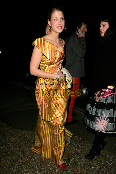 LADY GABRIELLA WINDSOR.Vivienne Westwood Opus - launch party, The Serpentine Gallery, London, England. .February 12th, 2008.full length brown yellow orange striped stripes dress gathered .CAP/AH.©Adam Houghton/Capital Pictures.