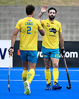 2nd February 2020; Sydney Olympic Park, Sydney, New South Wales, Australia; International FIH Field Hockey, Australia versus Great Britain; Trent Mitton of Australia is congratulated by Tom Craig of Australia after scoring to make it 5-1