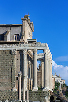 Temple of Antoninus & Faustina, also San Lorenzo church, Roman Forum, Rome, Italy