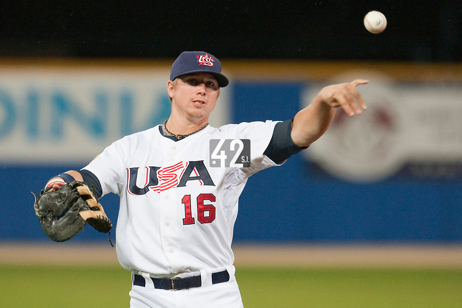 24 September 2009: Justin Smoak of Team USA warms up prior to the 2009 Baseball World Cup final round match won 5-3 by Team USA over Cuba, in Nettuno, Italy.