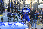 Tim Declercq (BEL) Deceuninck-Quick Step fuels up before the start of the 2019 Ronde Van Vlaanderen 270km from Antwerp to Oudenaarde, Belgium. 7th April 2019.<br /> Picture: Eoin Clarke | Cyclefile<br /> <br /> All photos usage must carry mandatory copyright credit (&copy; Cyclefile | Eoin Clarke)