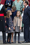 Princess Sofia of Spain, Princess Leonor of Spain, Queen Letizia of Spain and President of the Goberment of Spain Mariano Rajoy during Spanish National Day military parade in Madrid, Spain. October 12, 2015. (ALTERPHOTOS/Victor Blanco)
