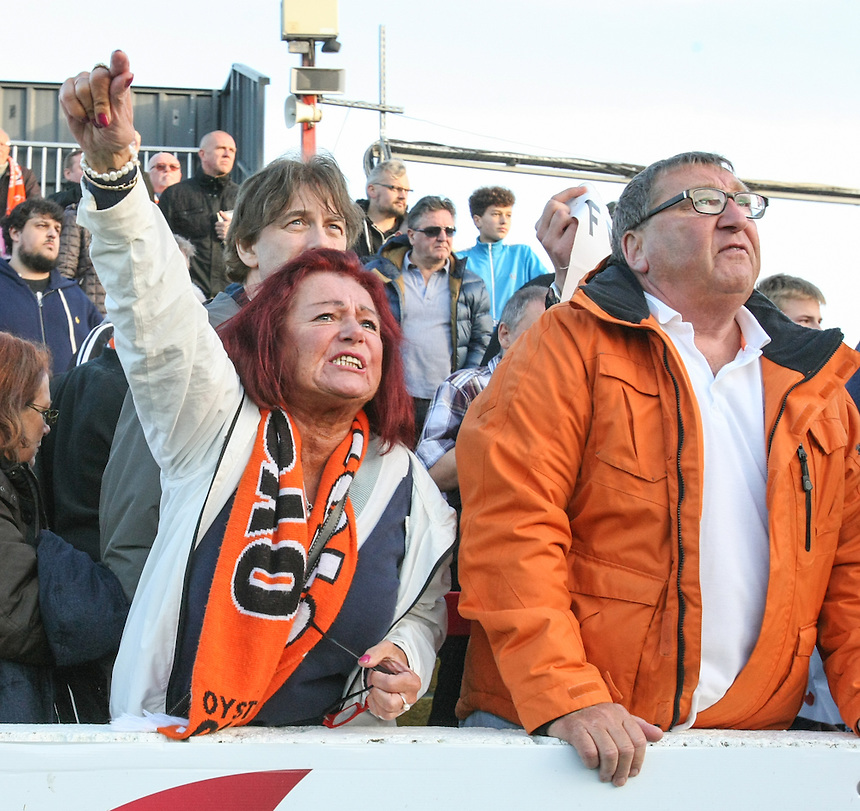 Furious Blackpool fans let their feelings known at full time<br /> <br /> Photographer Alex Dodd/CameraSport<br /> <br /> The EFL Sky Bet League Two - Accrington Stanley v Blackpool - Saturday 15th October 2016 - Wham Stadium - Accrington<br /> <br /> World Copyright &copy; 2016 CameraSport. All rights reserved. 43 Linden Ave. Countesthorpe. Leicester. England. LE8 5PG - Tel: +44 (0) 116 277 4147 - admin@camerasport.com - www.camerasport.com